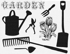 Garden Tools Silhouettes Printable High by luminariumgraphics, $4.85