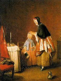 La toilette de la mañana (1741), Jean-Baptiste-Simeón Chardin. Francia