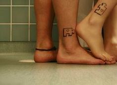 Puzzle Piece Tattoo is one of popular tattoo designs for female, and most of using for matching tattoos like for friendship or sisters, great tattoo idea. Best Couple Tattoos, Love Tattoos, I Tattoo, Tatoos, Small Tattoo, Ankle Tattoos, Couple Tattoos Unique Meaningful, Tattoos Pics, Awesome Tattoos