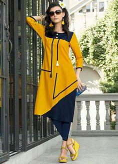 Golden Yellow and Navy Blue Premium Rayon Calf Kurti Kurti Neck Designs, Dress Neck Designs, Kurti Designs Party Wear, Blouse Designs, Stylish Dresses, Casual Dresses, Abaya Fashion, Fashion Outfits, Fancy Kurti