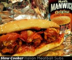Slow Cooker Easy Italian Meatball Subs - Aunt Bees Recipes Slow Cooker Recipes, Crockpot Recipes, Cooking Recipes, Yummy Recipes, Hamburger Recipes, Simple Recipes, Recipes Dinner, Tostadas, Crock Pot