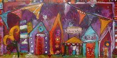 Block Party funky house lunatique, purple house peinture, art contemporain branché 10 x 20 par Jodi Ohl