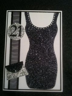 21st female glitter dress birthday card