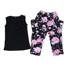 2016 Boutique Girls Clothes Black Tank Top Pink Floral Pants Set With Pocket Toddler Girl Clothing Children's Clothing Kids Girl