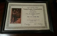 Methodist church young people's examination certificate 1931 in edwardian frame