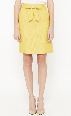 SKIRTS ~~ I love the bow accent at the waist!  MILLY Yellow Skirt | VAUNTE @Vaunte