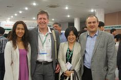 Dr Farshad Shishehchian, president-elect of WAS Asia Pacific and general manager of Blue Aqua International of Thailand (right) and Nun Chongwitookit, Blue Aqua's marketing communications (left) pose with Roger Gilbert and Tuti Tan of International Aquafeed magazine at the Asian Pacific Aquaculture exhibition in Saigon, Vietnam - http://theaquaculturists.blogspot.co.uk/search?updated-max=2013-12-19T05:22:00-08:00&max-results=7&reverse-paginate=true