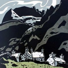 Sir Kyffin Williams - Cottages at Gwastadnant (Linocut) Williams still gets the mass of the Rock in this linocut - a sure touch. Landscape Art, Landscape Paintings, Landscapes, Scenary Paintings, Illustrations, Illustration Art, Kyffin Williams, Collages, Wood Engraving