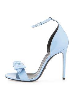 Clodine Patent Leather Sandal, Mineral Blue