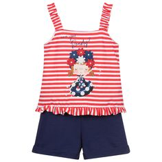 Navy Blue Shorts, White Shorts, Teddy Bear Clothes, Yellow Print, Outfit Sets, Shoulder Straps, Red, Cotton, Pearl