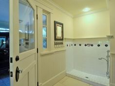 Pet shower in a mudroom