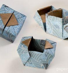 DIY Easy hinged origami gift box - paper folding // Egyszerű kinyitható papír origami ajándékdobozok - papírhajtogatás // Mindy - craft tutorial collection