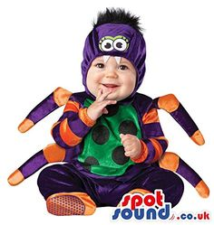 $$  Very Cute Orange And Purple Spider Baby Size Plush Costume