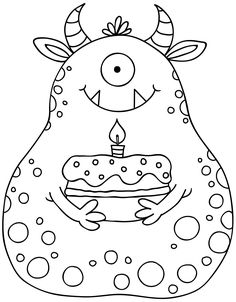 digital stamps for cards Monster Party, Monster Birthday Parties, Monster Coloring Pages, Colouring Pages, Coloring Books, Cute Monsters, Little Monsters, Doodle Monster, Digital Stamps