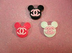Super Kawaii Mickey Mouse CC Chanel Ring.  Measures 36mm x 38mm  Available in 3 colors.   cherrycupcakes.storenvy.com