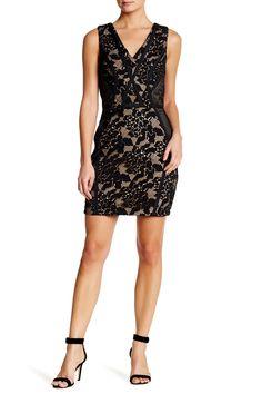 V-Neck Embroidered Knit Lace Dress