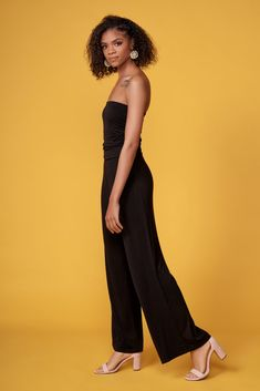 7f184b26c1d Jump out of bed and hop into the Onyx Black Strapless Jumpsuit for the  easiest one