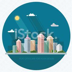 landscape summer cityscape illustration. city design, a metropolis street. vector illustration. royalty-free stock vector art
