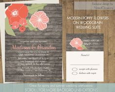 Rustic Floral Wedding Invitations- Poppy Flowers on Wood Grain For Rustic Summer Weddings | Coral Flowers | Printable Wedding Invitations   by NotedOccasions, $45.00 (Thought maybe you could check her esty site)