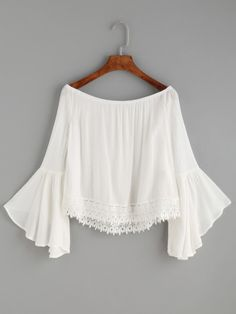 White Lace Trim Bell Sleeve Off The Shoulder Top