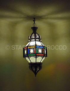 Multi-color Moroccan lantern: Star of Morocco's Frosted Multi-color design.