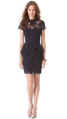 a bit too simple for the shoot? Reem Acra Jewel Neck Lace Dress --- it's so pretty