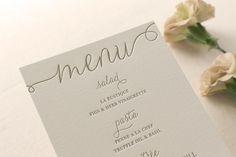 Letterpress Dinner Menus - 2 color - Custom, modern, traditional, classic, calligraphy, gold, blush, Script, Swirls, Simple, Black, Wedding