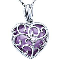 Ben Moss Jewellers Amethyst, 10k White Gold Pendant With Chain