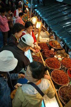 Various banchan at a market in Jeonju, Korea