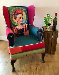 y Frida Kahlo Fine Art Boho Statement Arm Chair Funky Furniture, Furniture Makeover, Painted Furniture, Mexican Home Decor, Mexican Art, Kahlo Paintings, Funky Chairs, Frida Art, Deco Boheme