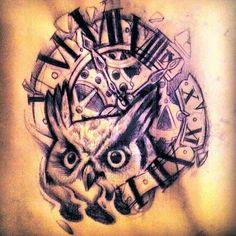 41 Best Owl Clock Tattoo Images Clock Tattoos Watch Tattoos Owl
