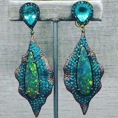 Lorraine Schwartz Paraiba Tourmaline, Pink Diamond and Boulder Opal earrings in Gold #australianopal