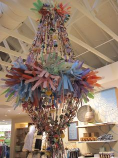 Recycled plastic chandelier,the 1st project Sarah made for our local Anthropologie store.