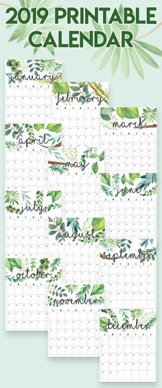2019 Printable Calendars and Planners Calendars Pinterest