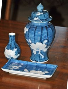 Vintage Set of Fitz and Floyd  Bright Blue Vases by NanaNostalgia, $29.00