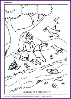 elijah fed by ravens color page - Elijah Bible Story Coloring Pages