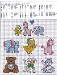 Schematic cross stitch schemini animals