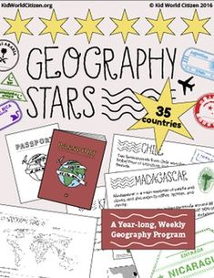 Geography Stars Weekly Year-Long Program & Passport Booklet. Geography Stars is a year-long, weekly geography program to increase global awareness in kids. Students learn fascinating cultural information and geographic facts about 35 different countries with an age-appropriate powerpoint and guided research. They learn to locate the countries using maps and with their own continent map book, and after completing the assessment they earn an authentic passport stamp for their passport booklet.