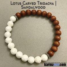 Beaded Yoga Handmade Bracelets. Triacna Lotus Sandlawood. Law of Attraction #LOA   Charm Mala I Meditation & Mantra I Spiritual.