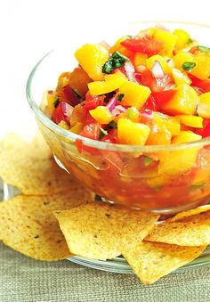 Peach Salsa made with ripe, intoxicating fresh peaches - enjoy this with sprouted-grain pitas, on top of chicken or fish, or just by the bowlful! Sub xylitol (or 5-7 drops of stevia) for the sugar.
