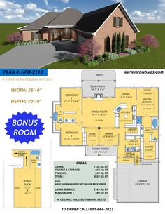 """New Plan of the Week! Beautiful and Spacious with Large Master Suite, Formal Dining, Front/Rear Porches, 2-Car Garage with open storage. GREAT FOR NARROW LOT! and BONUS ROOM W/ATTIC ACCESS.   """"Making Your Dream Home A Reality""""  Call Judson @ 601-664-2022   Website: www.hpdhomes.com"""