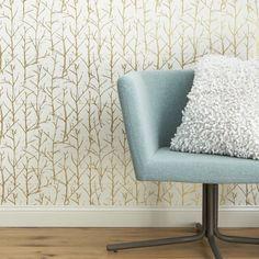 crumpled trees metallic traditional paste wallpaper  | CB2