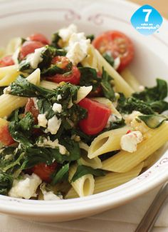 Penne con Espinacas y Jitomates - Weight Watchers