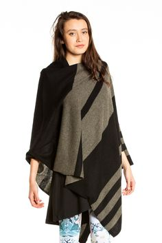 27 Miles Malibu Lexi Poncho in Black/Army Green Stripe