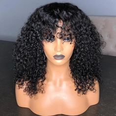 136 Curly Lace Front Wig With Bangs 150 Density Short Bob Human Hair Wigs For Women Black Brazilian Lace Wig Pre Plucked Remy Soft Curls Short Hair, Curly Hair With Bangs, Wigs With Bangs, Black Curly Hair, Curly Hair Styles, Deep Curly, Wavy Hair, Long Curly, Remy Hair Wigs