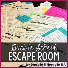 This EDITABLE back to school Escape Room includes icebreakers, a supply scavenger hunt, a syllabus close reading quiz, cryptoquotes, and an optional writing activity about Growth Mindset. You can present this as a Breakout Box (groups work at their desks) Middle School Classroom, 1st Day Of School, Beginning Of The School Year, Middle School Science, High School, English Classroom, Future Classroom, First Day Of School Activities, Writing Activities