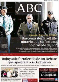 Los Titulares y Portadas de Noticias Destacadas Españolas del 22 de Febrero de 2013 del Diario ABC ¿Que le parecio esta Portada de este Diario Español?