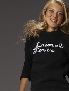 """Awesome """"Animal Lover"""" sweatshirt by Vaute Couture, the first vegan fashion label."""