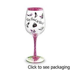 """Wine Glass """"Sip, Swirl & Shop!"""", Hand Painted Glassware . $24.00. Wine Glass """"Sip, Swirl & Shop!"""", Hand Painted Glassware. """"Sip, Swirl & Shop"""" Hand-Painted Wine GlassKnow someone who loves shoes, shopping & wine? These great glasses mix it all together for a perfect statement of fun.Custom hand-painting featuring meticulous detailing and whimsical themes make these glasses fun to give, get and collect.Each glass is packaged in a fitted cylinder gift box making it..."""