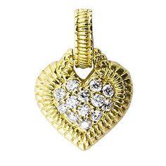 Judith Ripka Small Diamond Oval Clip-On Pendant